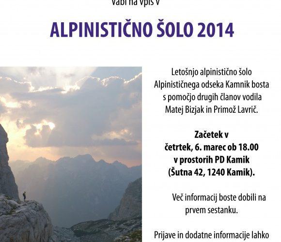 Alpinistična šola 2014 – vabilo